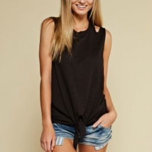 Tops - The Cutest Black Front Tie Top